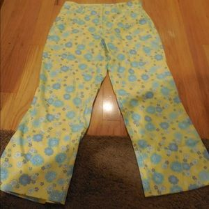 Lilly Pulitzer sz 2 yellow blue Capri crop pants
